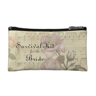 Vintage Rose and music score wedding set Cosmetics Bags