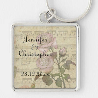 Vintage Rose and music score wedding set Silver-Colored Square Key Ring