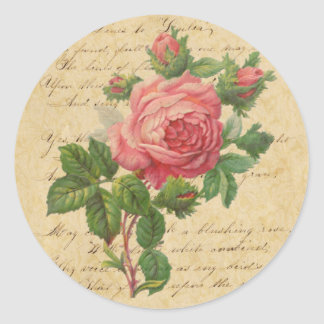 Vintage Rose and Script Stickers/Envelope Seals Round Sticker