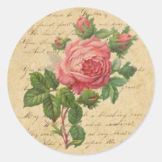 Vintage Rose and Script Stickers/Envelope Seals Round Sticker