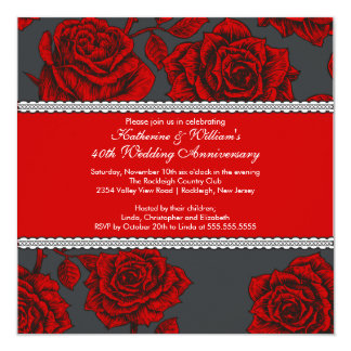 Vintage Rose Anniversary Invitation Black Red
