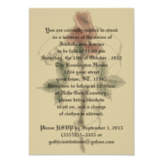 "Vintage Rose Banner Goth Wedding Invitations 5"" X 7"" Invitation Card"