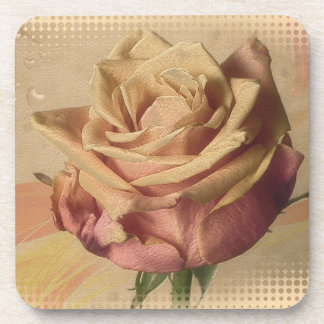 Vintage rose beautiful illustration drink coaster