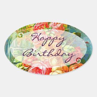 Vintage Rose Birthday Oval Sticker