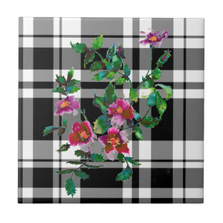 Vintage Rose - black and white plaid Ceramic Tile