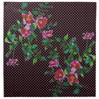 Vintage Rose black/pink polka-dots Cloth Napkin