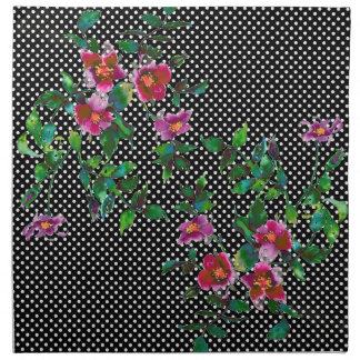 Vintage Rose black/white polka-dots Printed Napkins