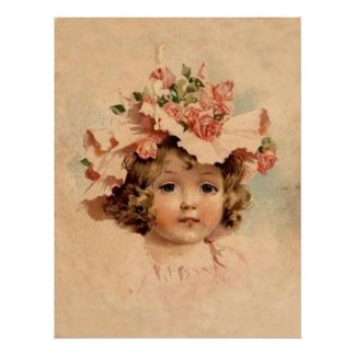 Vintage Rose Bonnet Girl Poster