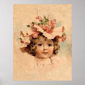Vintage Rose Bonnet Girl Poster