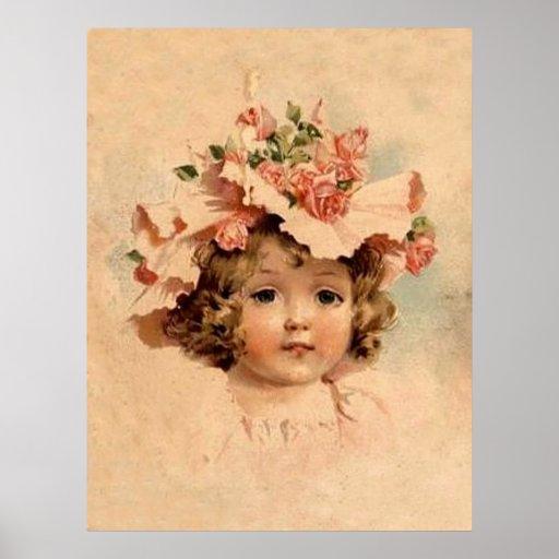 Vintage Rose Bonnet Girl - Print