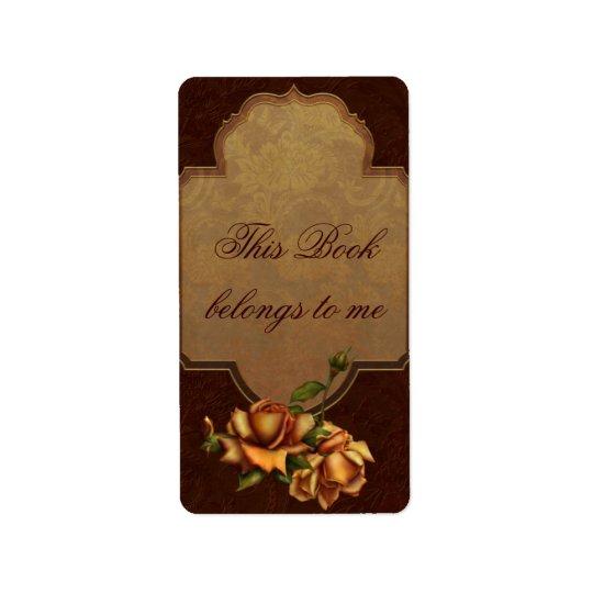 Vintage Rose Bookplate Address Label
