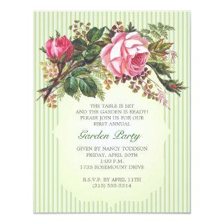 Vintage Rose Bouquet Garden Party 11 Cm X 14 Cm Invitation Card