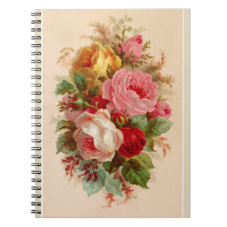 Vintage Rose Bouquet Note Pad Notebook