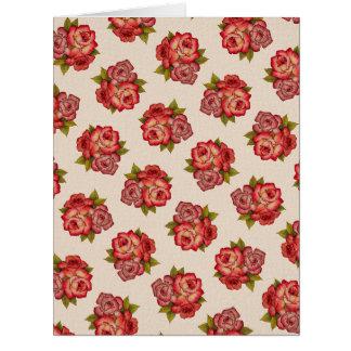Vintage Rose Bouquet Pattern Blank Greeting Card