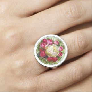 Vintage Rose Bouquet Retro Jewelry Photo Rings