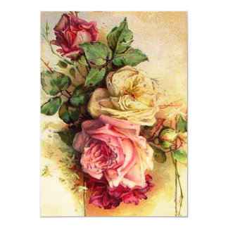 Vintage Rose Bouquet Wedding Invitation