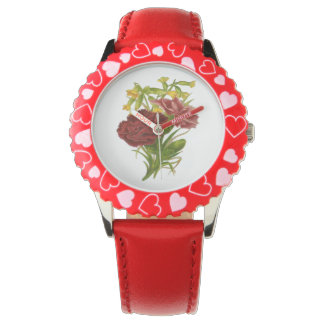 Vintage Rose Bouquet Wrist Watches