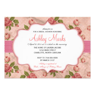 Vintage Rose Bridal Shower Invitation