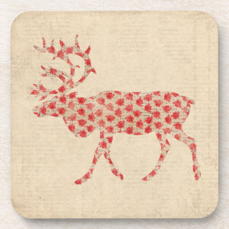 Vintage Rose Buck Silhouette Coaster