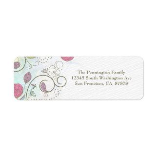 Vintage rose bud floral swirls address label