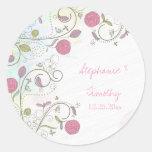 Vintage rose bud floral swirls wedding stickers