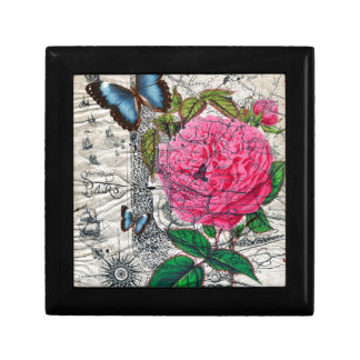 vintage rose butterfly map small square gift box