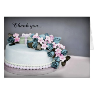 Vintage Rose Cake Wedding Thank You Card