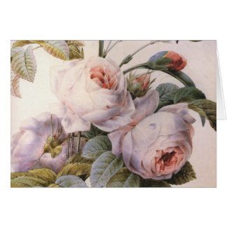 Vintage Rose, Carnation Bouquet Greeting Card