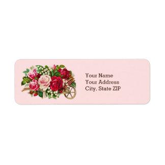 Vintage Rose Cart Return Address Label
