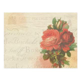 """Vintage rose """"Carte Postale"""" postcard"""