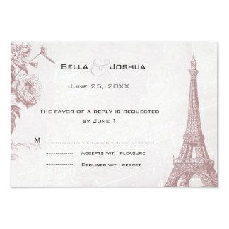 "Vintage Rose Color Eiffel Tower RSVP 3.5"" X 5"" Invitation Card"
