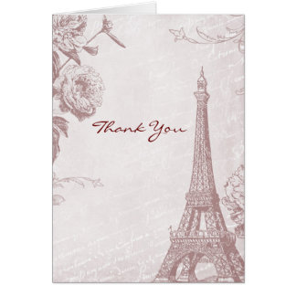 Vintage Rose Color Eiffel Tower Thank You card
