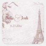 Vintage Rose Colour Eiffel Tower Wedding Sticker
