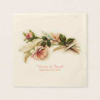 Vintage Rose Custom Wedding Napkins Paper Serviettes
