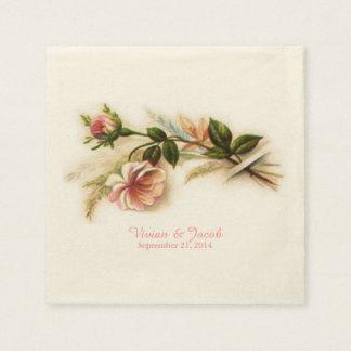 Vintage Rose Custom Wedding Napkins Paper Serviettes