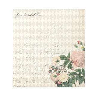 Vintage Rose Diamond Pattern Shabby Chic Notepad