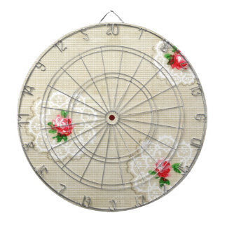 Vintage Rose Doily Wallpaper Dartboard
