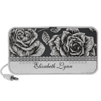 Vintage Rose Doodle Custom Speakers Personalized