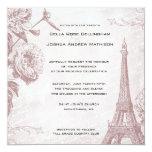 Vintage Rose Eiffel Tower Wedding Invitation 13 Cm X 13 Cm Square Invitation Card