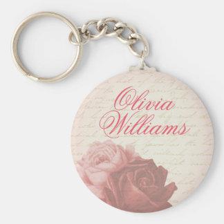 Vintage rose elegant floral name keychain