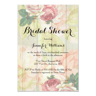 Vintage rose floral bridal shower invitations