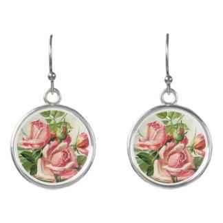 Vintage rose floral drop earrings