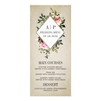 Vintage Rose Floral Greenery Wedding Menu Cards