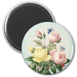 Vintage rose floral magnet
