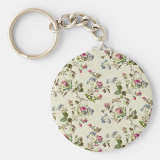 Vintage Rose  Floral Pattern Shabby chic Basic Round Button Key Ring