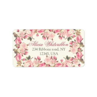 Vintage rose floral personalised address labels