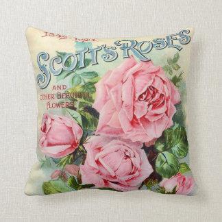 Vintage Rose Flower Catalogue Cover Illustration Cushion