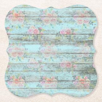 Vintage Rose Flower Distressed Wood Blue Coaster