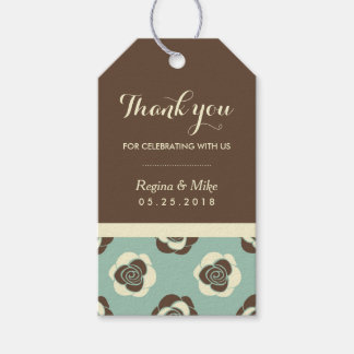 Vintage Rose Flower Pattern Gift Tags for Wedding
