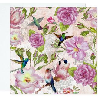 Vintage Rose Flowers & Hummingbirds pattern Card